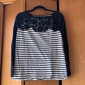 LOFT Raglan Style Lace front Striped Long Sleeve
